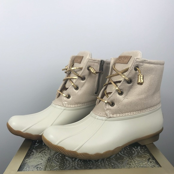 Sperry Cream And Gold Duck Boots Sz8